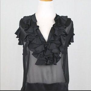 Amanda Uprichard 100% Silk Sheer Ruffle Blouse